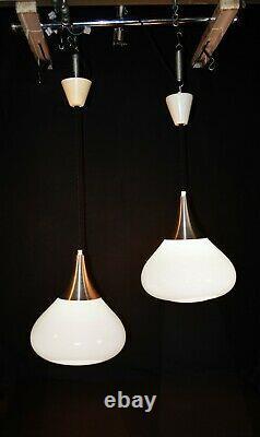 Original 1960s Danish Holmegaard cased glass tear drop designer pendant light