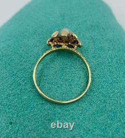 Pearl Ring 14K Gold Modern Modernist Scandinavian Design Mid-Century Eames