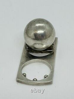 Pekka Piekainen Finland Vintage Sterling Silver Modernist Rare Ball Ring