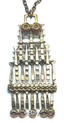 Pentti Sarpaneva Finland Vintage Bronze Brutalist Pendant Necklace 3021 Signed
