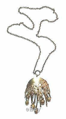 Pentti Sarpaneva Finland Vintage Bronze Pendant & Chain / Necklace Signed