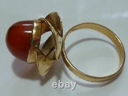 Possible Scandinavian Modern Modernist Carnelian 14k Yellow Gold Estate Ring