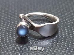 RAREGeorg Jensen Sterling Silver Blue Moonstone Ring by Vivianna Torun #152
