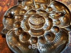 RARE! Dragestil Norwegian 830 Silver Henrik Moller Trondheim Rose Brooch Pendant