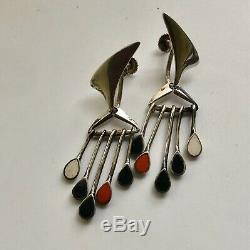 RARE Hans Hansen Denmark Sterling Silver Dangle Earrings