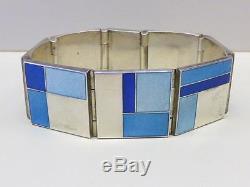 RARE Modernist David Andersen Bracelet BLUE Enamel Sterling Silver 925S