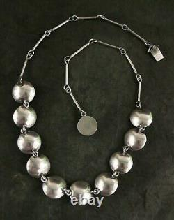 RARE N. E. FROM (Niels Erik) STERLING SILVER AMBER CLAMSHELL NECKLACE 18L 27.5GM