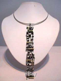 RARE THOR SELZER Denmark STERLING & GOLD Modernist Abstract PENDANT NECKLACE