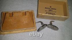 RARE Unsigned GEORG JENSEN ARNO MALINOWSKI Sterling Silver Iron Earrings Box