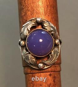 RARE VTG Denmark Brd. B Sterling Silver Blue Chalcedony Ring Brodrene Bjorklund