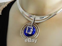 RARE Vintage DAVID ANDERSEN Norwegian MODERNIST Necklace Norway Silver Enamel A1