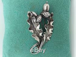 RARE! Vintage georg Jensen Sterling silver necklace & pin brooch acorns with lea