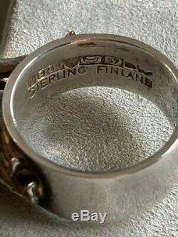 REDUCED! BJORN WECKSTROM, Lapponia 1971 Space Series 925 STERLING RING FINLAND