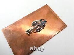 Rare 1915-1930 Mark Georg Jensen 830 Silver Moonstone & Labradorite Brooch #75