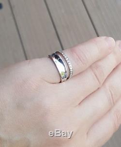 Rare Danish Georg Jensen Silver 925s Marcia Diamond Ring #618B By Vivianna Torun