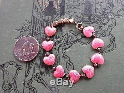 Rare David Andersen Sterling Silver Guilloche Pink Enamel Heart Bracelet 6 1/2