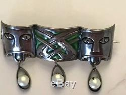 Rare Early David Andersen Enamel Face Mask Brooch Sterling Silver
