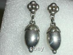 Rare Georg Jensen Art Deco Denmark Sterling Silver Acorn Earrings- #4
