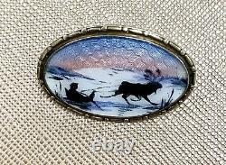 Rare Hans Myher Sterling Silver Guilloche Enamel Brooch Oslo Norway, Scenic, 925