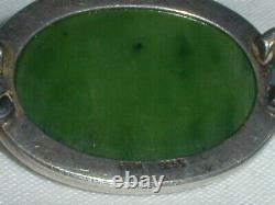 Rare N E From Denmark Sterling Nephrite Jade Bangle Bracelet- #13- 1960's