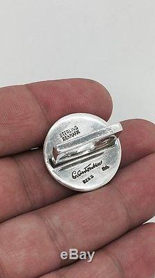Rare! Vintage Carl Antonsen Denmark Sterling Silver Lapiz Stone Ring