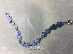 Rare Vintage DAVID MEKA Danish Sterling Silver Enameled Ladies Bracelet, 6.5