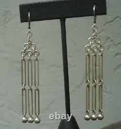 Rare Vintage Danish NE From Sterling Silver Long Dangle Earrings Denmark