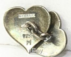 Rare Vintage Hans Hansen Sterling Silver Denmark Heart Cufflinks