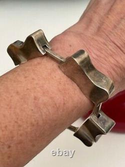 Rare Vintage JENS ASBY Denmark Sterling Silver Modernist Heavy Bracelet