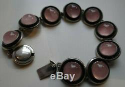 Rare Vintage N. E. From Sterling Silver 925s With Pink Stones Bracelet Denmark 46
