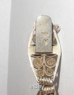 Rare Vintage Norwegian Silver 930S Marius Hammer enamel filigree bracelet Norway