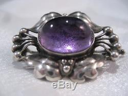 Rare and early Georg Jensen silver and amethyst brooch #30 1915-1925