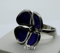 Retro Vintage Anton Michelsen Danish Scandinavian Stg Silver Enamel Ring Jensen