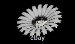 Rhodinated GEORG JENSEN Daisy Sterling Pendant / Brooch w White Enamel 43 mm