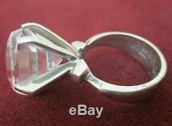 Ring Sterling Silver Vintage Huge Crystal Ring Lantz Tana Sweden Size 6 1/2
