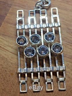 Salovaara Pendant Necklace Crystal Vintage Sterling Silver Finland Mid century