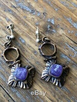 Sarpaneva Finland Bronze Amethyst Necklace, earrings, bracelet Vintage Brutalist