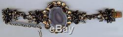 Sarpaneva Finland Fabulous Vintage Ornate Bronze & Agate Bracelet