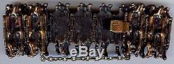 Sarpaneva Finland Vintage Textural Bronze Wide Large Wrist Bark Bracelet