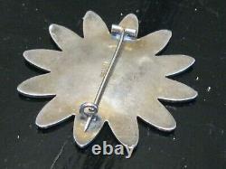 Scandinavian Enamel 925s Sterling Silver Guilloche Daisy Flower Aksel Holmsen