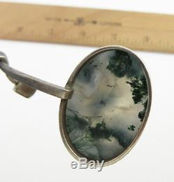 Scandinavian Modernist GUSSI G Thysell Sterling Silver Necklace Moss Agate Stone