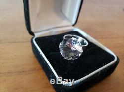 Signed Alton Modernist Sterling Swedish Rock Crystal Ring Size 6 Swedan 1970
