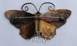 Sterling Silver 925 Large David Andersen Blue Enamel Butterfly Pin Brooch