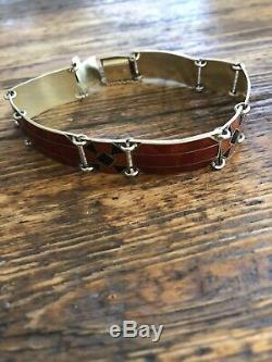 Sterling Silver Enamel Bracelet Ostrem Norway Norwegian