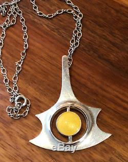 Sterling Silver Enamel Necklace Pendant Albert Scharning Norway Norwegian