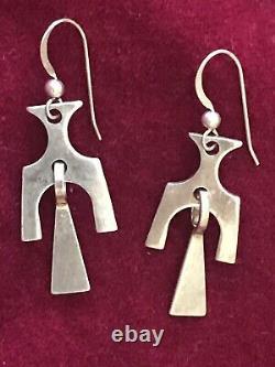 Sterling Silver Mid Century David Andersen Modernist Dangle Earrings Norway DA