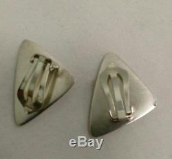 Sterling Silver Modernist Clip Earrings by Hans Hansen for Georg Jensen Denmark