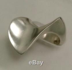 Sterling Silver Modernist Ring by Hans Hansen for Georg Jensen Denmark Size 6
