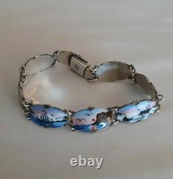Sterling Silver Norway Guilloche Enamel Ivar T Holth Bracelet Size 7