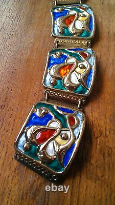Sterling Silver Norway Modernist Enamel Bracelet by Oystein Balle 52 Grams